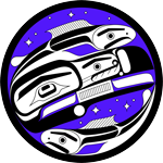 Illustrated logo of The Reciprocal Research Network featuring black and purple first nations art.