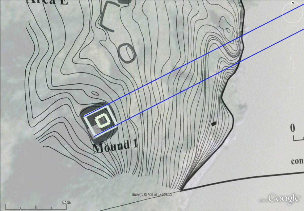Contour map showing a river edge with a feature marked 'Mound 1'