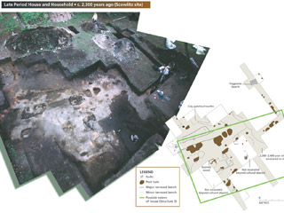 A composite photo and diagram show the excavation of an ancient house.
