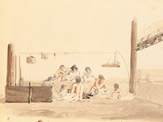 A painting shows the interior of a Coast Salish house. A group of people sit around a fire.