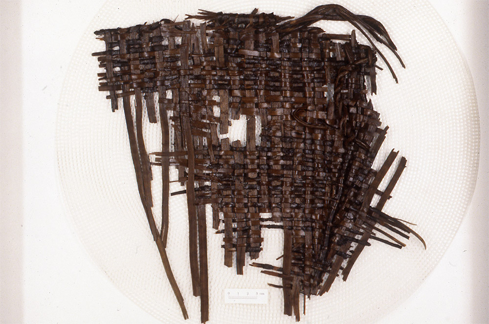 A fragmented basket woven from bark strips. Parts of the rim and body of the basket are still preserved.