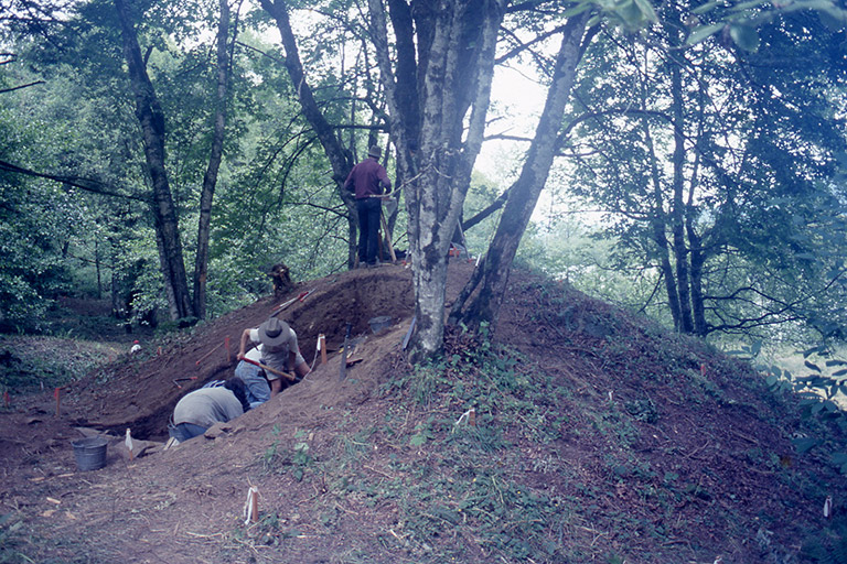 One person standing on top of a large mound. The mound is sectioned for archaeological excavations and several people are working in it.