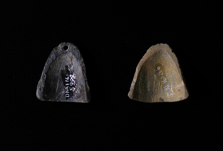 Two small concave stone pieces, one dark and one light, carved into a triangular shape. The dark one is pierced for adornment.