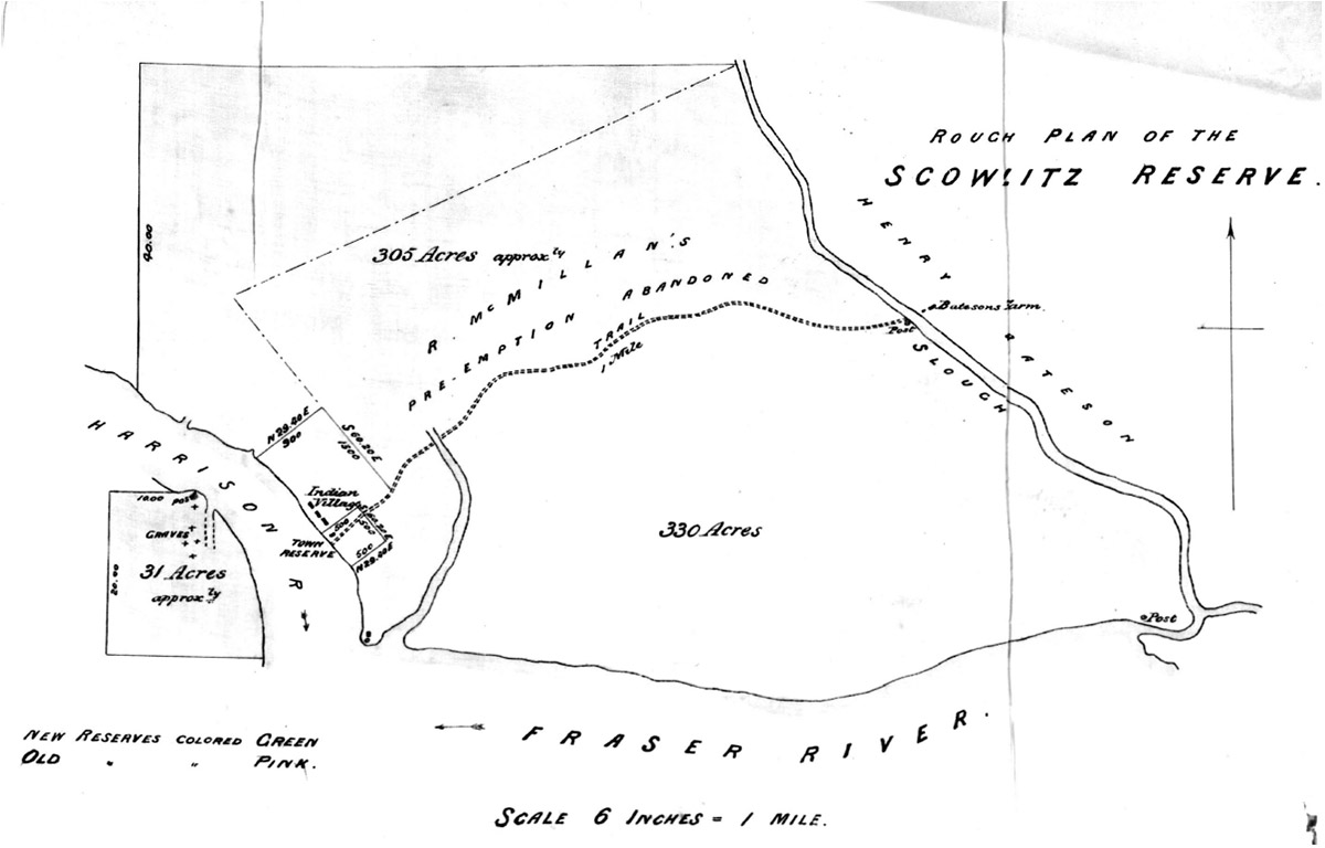 A black and white map of Scowlitz Indian Reserve 1 and 2.