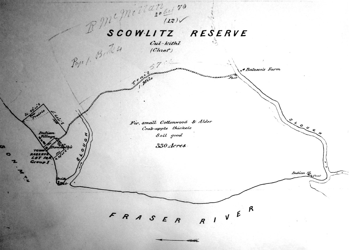 A black and white map of the first recorded reserve at Sq'éwlets.