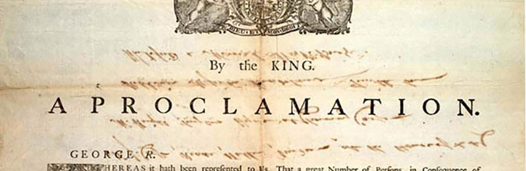 Historical document beginning 'A Proclamation: By the King' with his insignia above