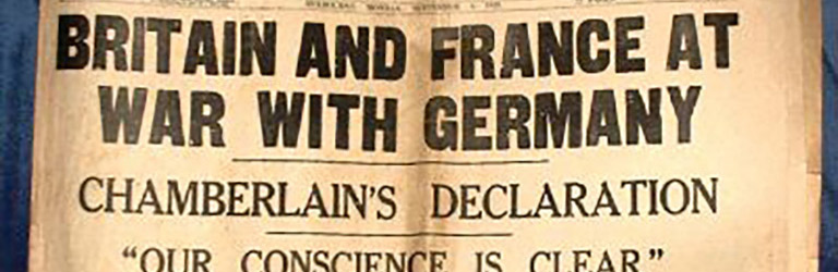 Australian newspaper announces 'Britain and France at War with Germany', 1939