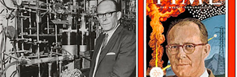 Photo of a man in horn-rimmed glasses in a science lab next to the cover of a Time magazine with the words 'William Libby'