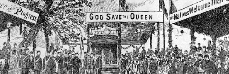 A black and white drawing of a gathering of people with the banner 'God Save the Queen'.