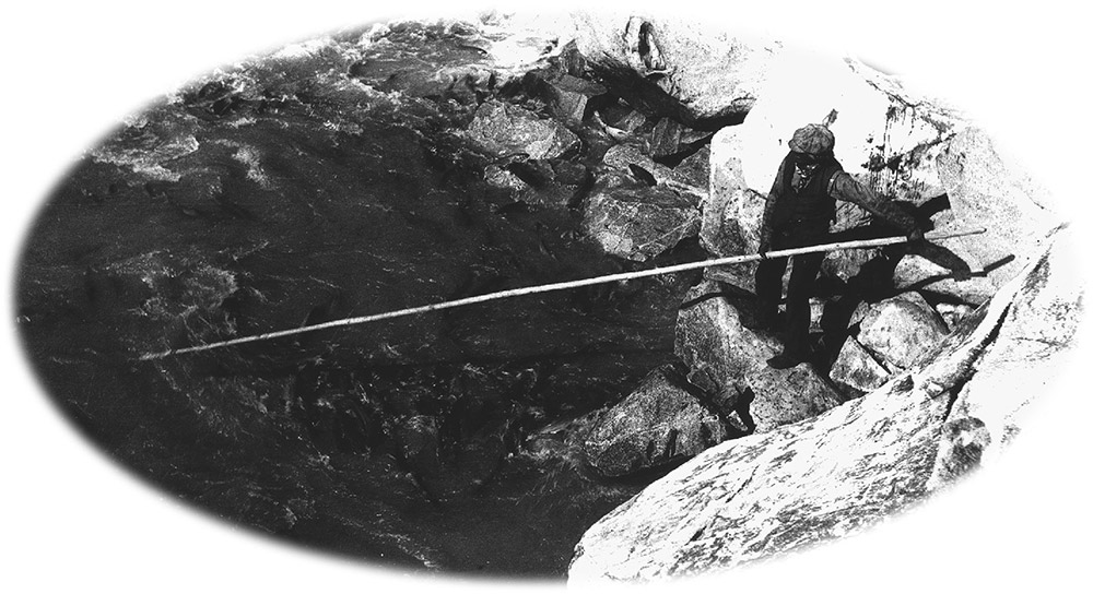 A black and white photograph of a man standing on rocks along the shore, holding onto a fishing net with a very long handle. The net is submerged in the water.