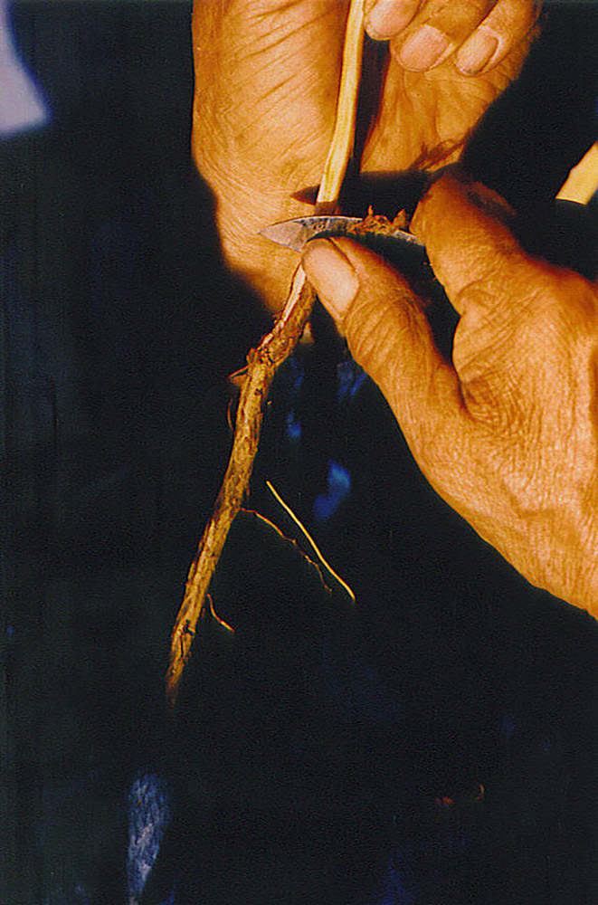 A man is peeling the outer skin off of a cedar root.