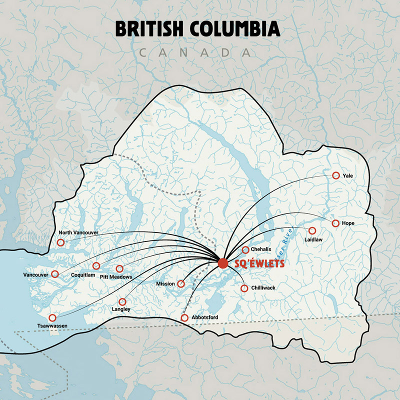 A map showing all of the familial connections between Sq'éwlets people and other communities throughout British Columbia.